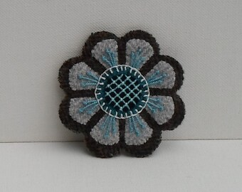 Hand Made Brooch Felted Wool Appliqued & Embroidered Gray and Dark Gray Flower