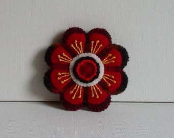 Hand Made Brooch Felted Wool Appliqued & Embroidered Red and Red Plaid Flower