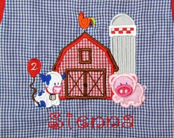 GIRL'S Old McDonald's Farm or BIRTHDAY Dress, Swing Top and Shorts or Shorts Outfit with Animals Barnyard Cow, Horse and Pig ht