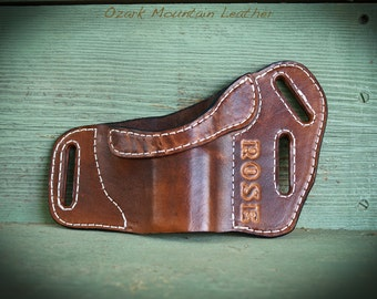Custom leather holster with name or initials for right or left handed carry