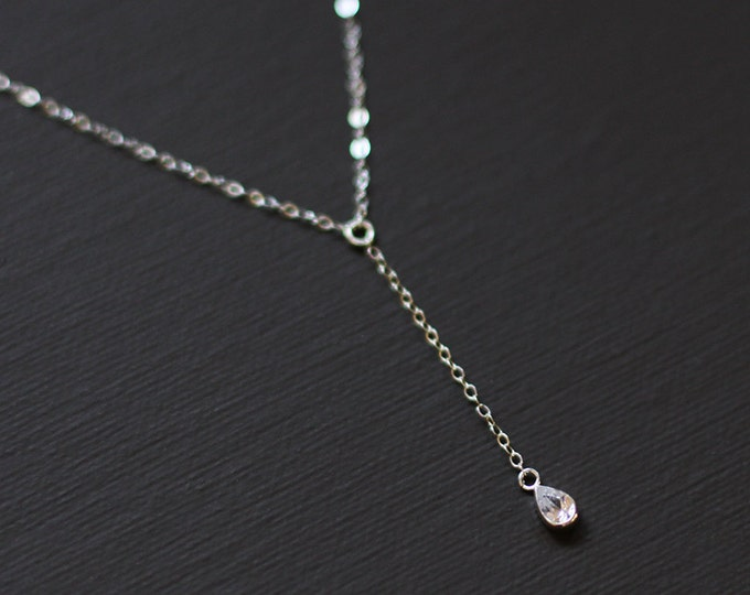 Delicate Rosary Necklace with Tiny Cubic Zircon Drop Charm - Sterling Silver