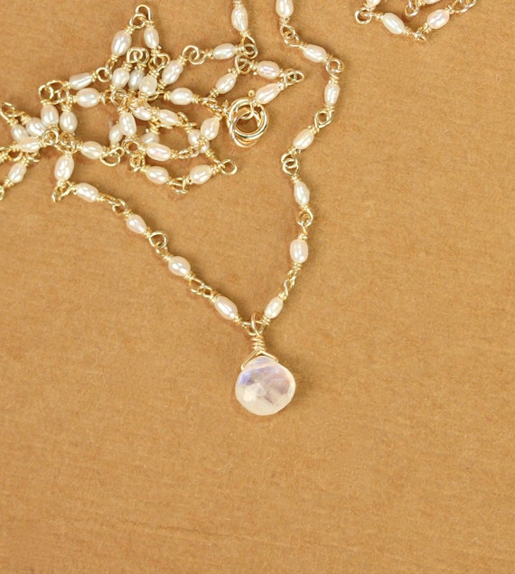 Moonstone necklace - rainbow moonstone - pearl necklace - june birthstone - a wire wrapped moonstone on a dainty pearl chain