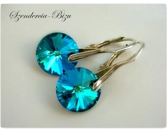 Silver earrings with Swarovski Elements  Disc 12mm Crystal Bermuda Blue