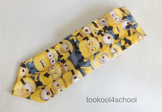 mens neck tie mini minion dispicable me fabric
