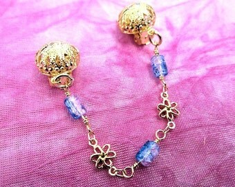 Whispering Shades Female Intimate Body Clip Floral Glass Beads Gold GEP