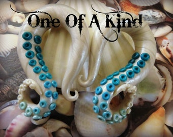 CUSTOMIZABLE Octopus Single Tentacle Gauged Earrings Made To Order