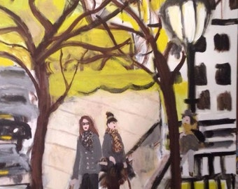 Two Fashionable Women Walking Dogs on City Street near Lamp Post, signed  original large scale painting.