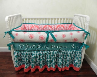 Custom Baby Bedding Set Tamra - Girl Baby Bedding, Coral and Teal Baby Bedding