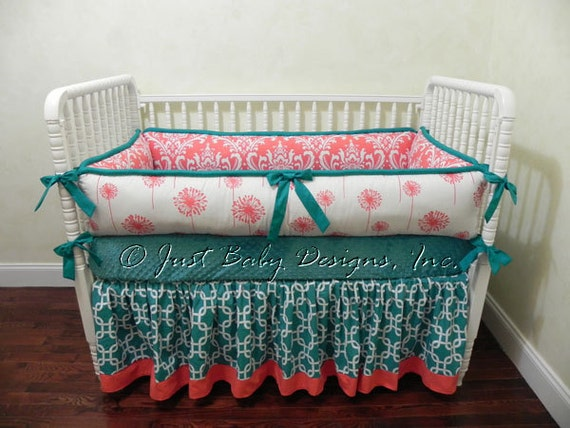 Custom Baby Bedding Set Tamra Girl Baby Bedding Coral And