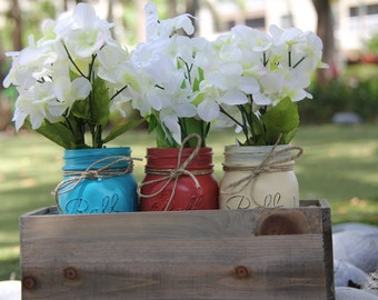 Painted Mason Jars with Planter Box- Rustic Home Decor- Mason Jars- Table Centerpiece- Rustic Wedding Decor- CHOOSE YOUR COLORS