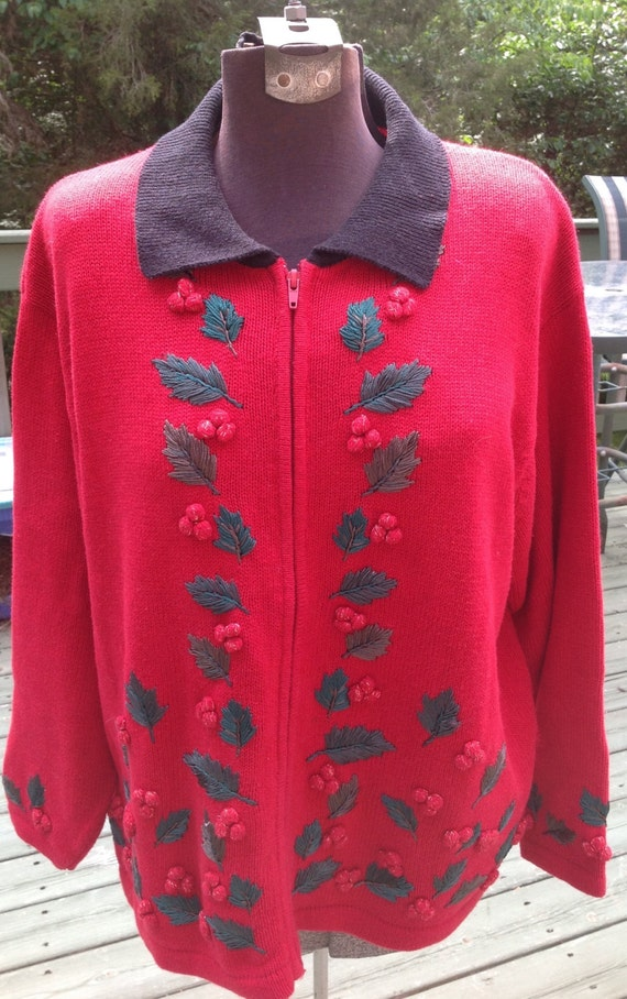 Ugly Christmas Sweater Women's Red Sweater Size 18/20