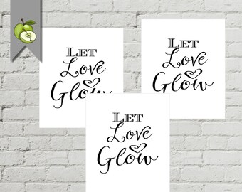 Let love glow Tags, for your Glow sticks, Glow sticks send off, Glow sticks, Instant digital Download, printable, whitesuite, wedding party