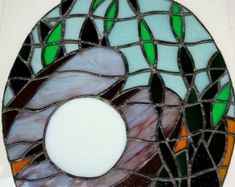 Vintage Stained Glass Hanging Panel Oyster Shell and Pearl 1970's