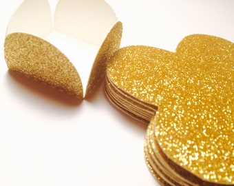12 Glittery Gold Cake Ball - Cake Pop - Chocolate truffle wrapper papers, liners or favor box.