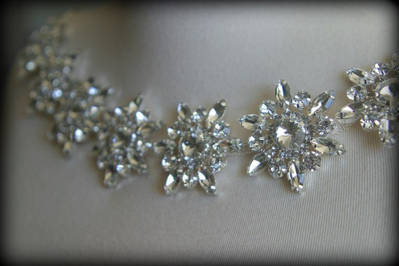 Authentic Crystal Rhinestone Trim, Rhinestone Applique, Rhinestone Headband, Rhinestone Belt, Bridal Sash, Wedding Garter CR-204
