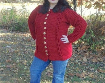 Chilly Cables Coatigan ADULT - PDF pattern ONLY - Winter, Fall, Snow, Cold, Sweater, Jacket, Coat, Cardigan, Adult, Crochet