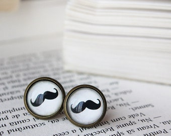 Moustache Stud Earrings - Moustache Earrings - Mustaches Earrings - Hipster Earrings