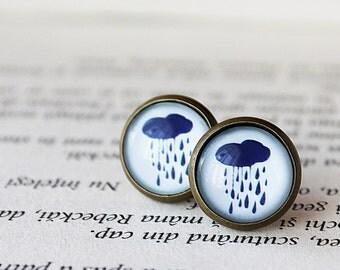 Raindrops Earrings - Rain Earrings -Rain Studs -  Blue Rain Drops Post Earrings - Weather Earrings - Rainy day Stud Earrings - Rain Clouds