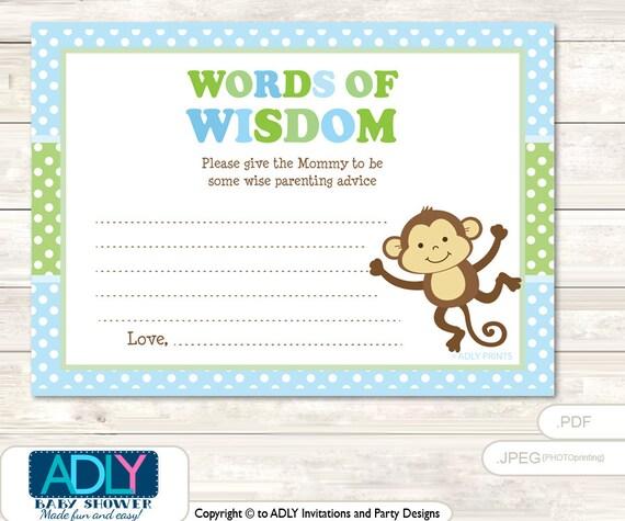 green boy monkey words of wisdom advice card for baby shower
