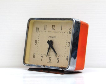 Vintage Alarm Clock - Orange Clock - Home Decor