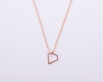 Rose Gold Minimal Necklace Diamond Triangle Rosegold