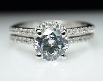 Solitaire Round Diamond Engagement Ring & Matching Wedding Band Petite Bridal Set Custom Bridal Engagement Set 14k White Gold