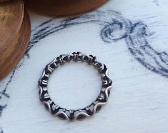 Filigreed ring 16 mm old silver tone x 1 pcs