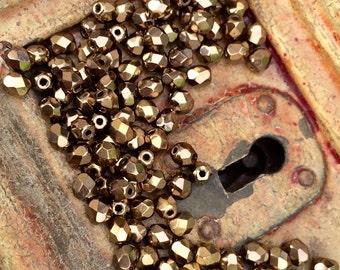 Fire polish czech glass beads 4 mm  bronze  x 50 pcs
