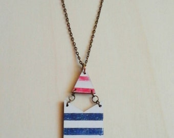 Nautical Chevron Necklace, Wood Handpainted  necklace, Sea Necklace,Geometric Jewelry
