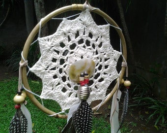 Crochet Dream Catcher with white , brown  and peacock feathers