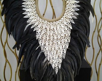 Papua Native Warrior necklace Black feathers and white  shells.