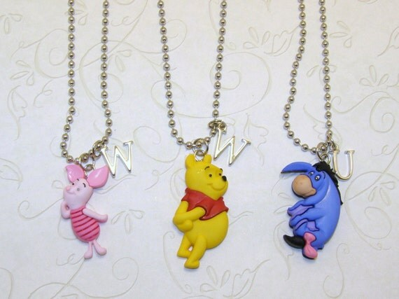 winnie the pooh eeyore piglet necklace with by charmedelegance