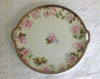 Antique Old Ivory Ohme Silesia Rose Serving Plate, Porcelain Round Cake Plate, Silesia Germany Porcelain, Pink and Green Roses, Shabby Chic