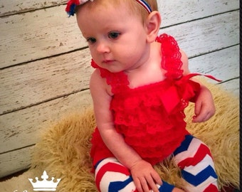 Red, White and Blue Headband, Lace Petti Romper and Leg Warmer Set, Fourth of July Set, Independence Day, Photo Prop, 4th of July, Baby Legg