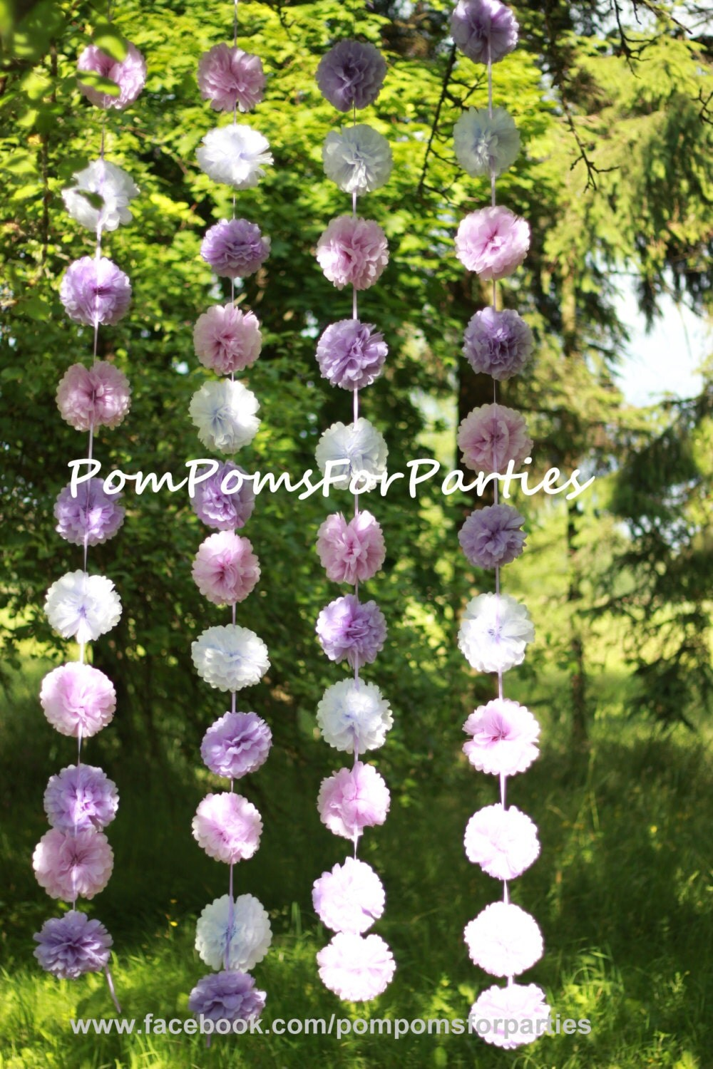 hanging garland small size paper pom poms open air party