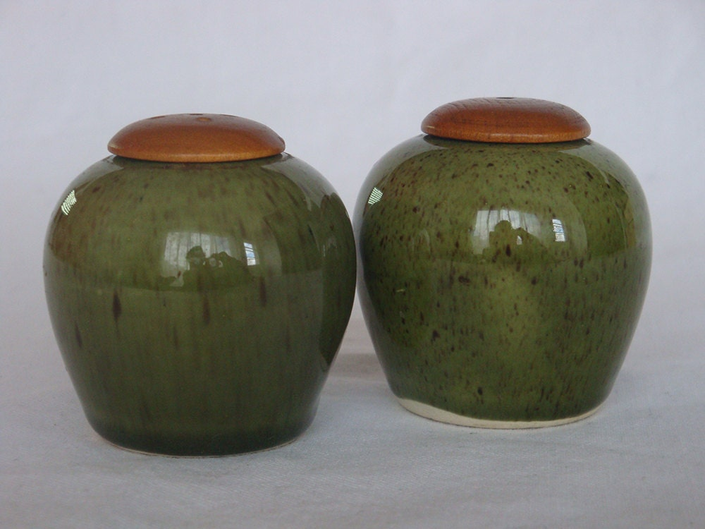 Vintage Ceramic And Wood Swedish Salt And Pepper Shakers
