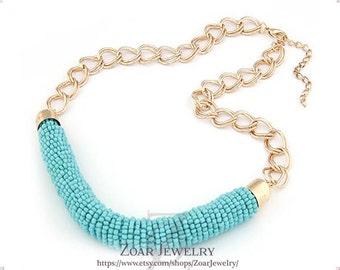 Bohemia style beads Necklace, Handmade Bib Necklace, Statement Necklace
