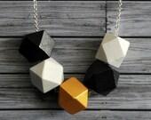 5 bead wooden geo necklace. High Tea