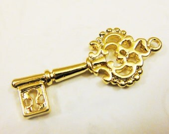 Vermeil, 18k gold over 925 sterling silver Large Key Charm - gold  large and thick key, vermeil key