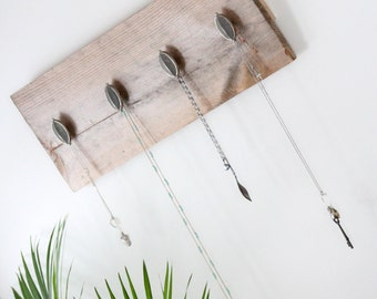 Reclaimed wood jewelry and accessory display