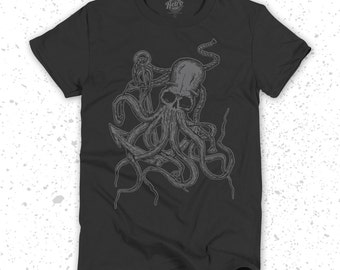 Nautical Octopus T-Shirt Screen Printed Vintage
