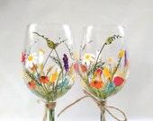 "Wine Glasses -- Hand Painted Wine Glasses, Keepsake, Gift Idea, Bridesmaid Gift, Wedding Gift -- ""Bouquet of wildflowers"" -- Set of 2"