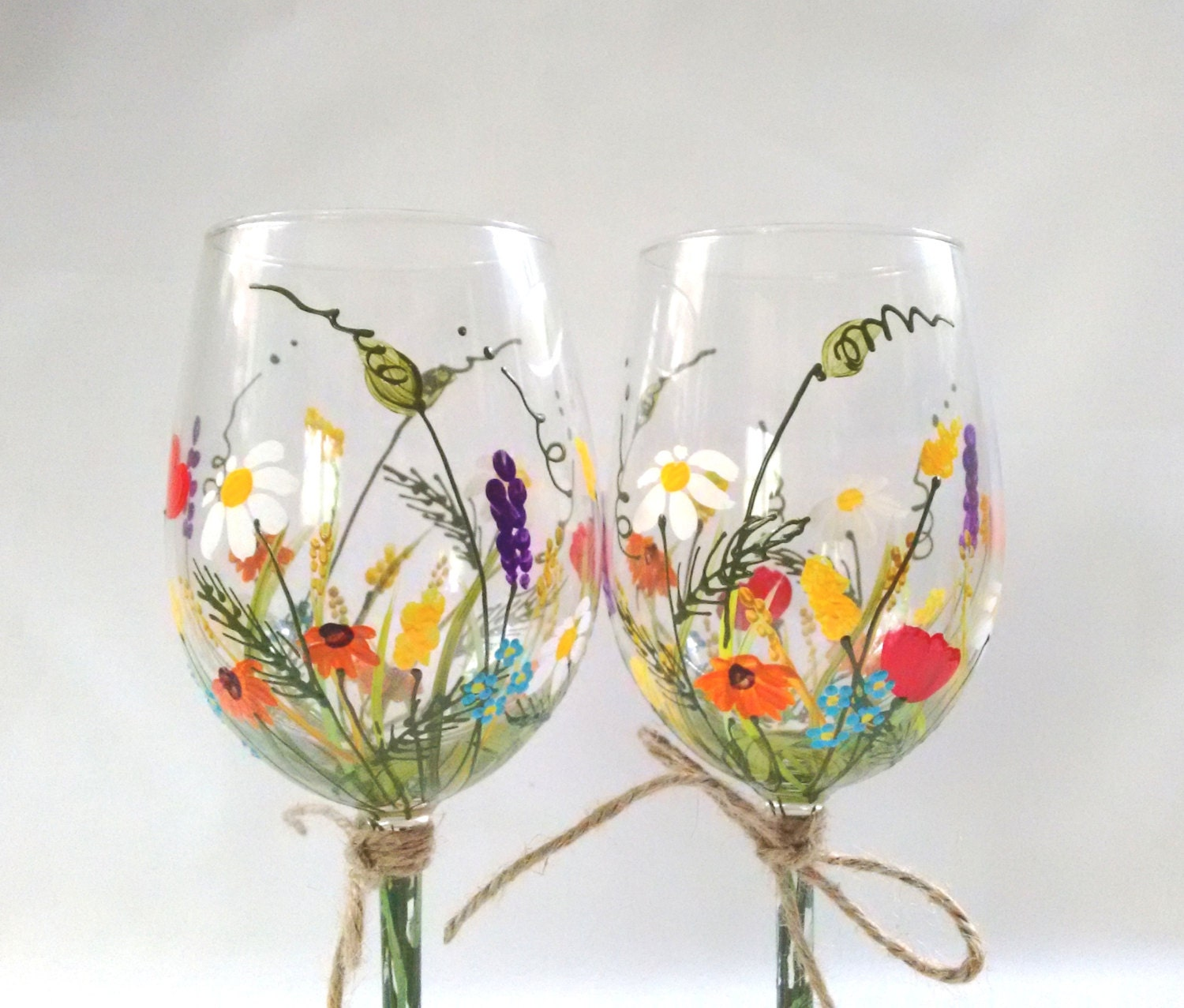 Wine glasses hand painted wine glasses keepsake gift by for What paint do you use to paint wine glasses