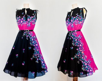 Black Pink and Purple Floral Printed Sleeveless Dress