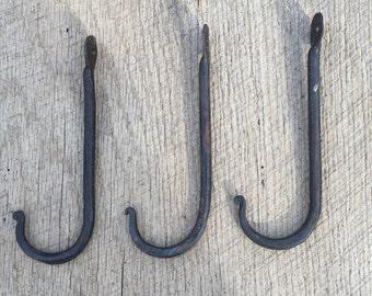 Set of 3 Hand Wrought Iron Hooks, Wall Hooks, Blacksmith Made