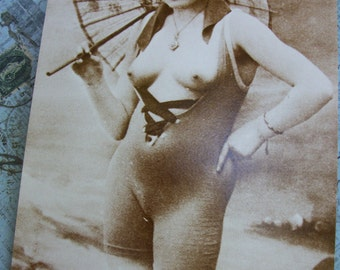 Vintage 1950's – 1960's Unused Sepia Tone Risqué French Postcard