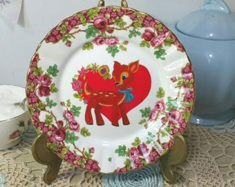 Decorative Wall Plate with original deer illustration. Olde english garden vintage upcycled  side plate. PP030