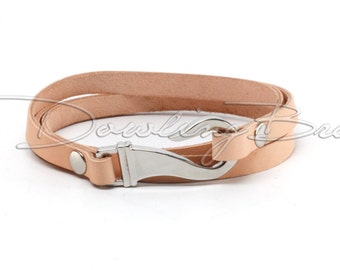 Natural Leather Stainless Steel Hook Cuff Bracelet
