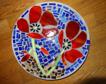 Poppies Stained Glass Stepping Stone