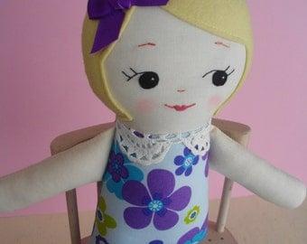 Retro Ragdoll - Handmade cloth doll blonde doll Plush Toy Rag Doll in vintage fabric